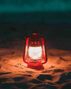 red lantern lamp turned on
