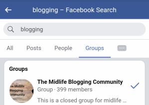 Blogging groups on Facebook