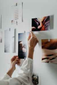 photo of person putting photo on wall