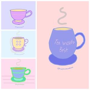 Tea cups doodle