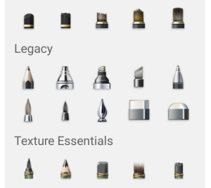 An example of pen texture options on Autodesk
