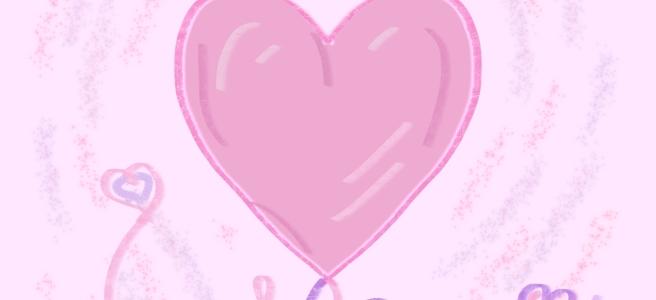 Heart doodles in pinks
