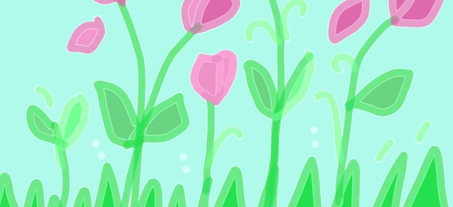 A doodle of pink tulips amongst green grass by hopeadoodledo