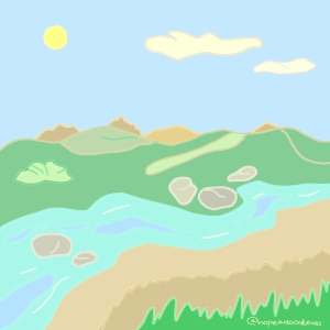Water and hillside doodle