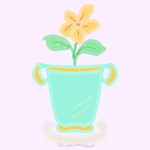 Doodle of yellow flower in a mint green flower pot.