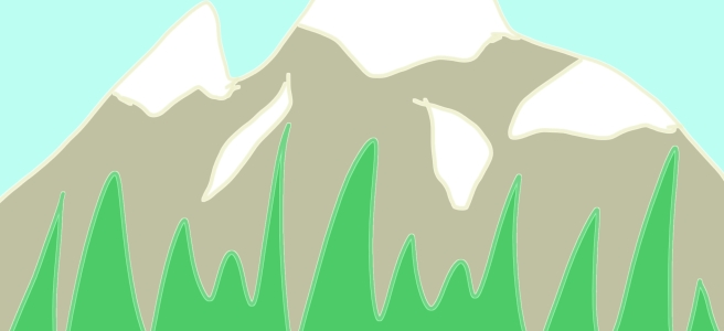 A doodle of a glacial mountain with greenery. By hopeadoodledo